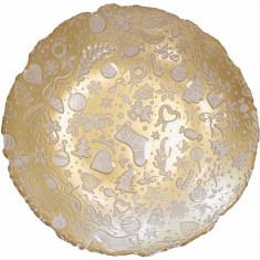 Πιατέλα Γυάλινη Βαθειά Christmas Gold White Brandani 40cm