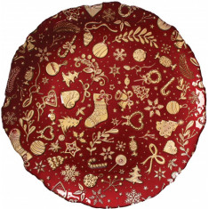 Πιατέλα Γυάλινη Christmas Red Brandani 39cm