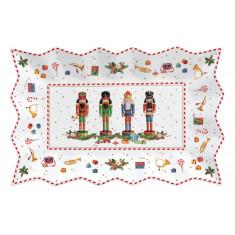 πιατέλα Χριστουγεννιάτικη Πορσελάνης Vintage Nutcracker Ορθογώνια 35cm R2S