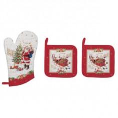 Γάντι Φούρνου Και 2 Πιάστρες Χριστουγεννιάτικες Ύφασμα Memories R2S