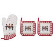 Γάντι Φούρνου Και 2 Πιάστρες Χριστουγεννιάτικες Ύφασμα Nutckracker R2S