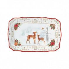 Πιατέλα Χριστουγεννιάτικη Πορσελάνης Melody Ορθογώνια 35cm R2S