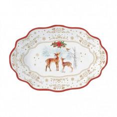 Πιατέλα Χριστουγεννιάτικη Πορσελάνης Melody Οβαλ 30cm R2S