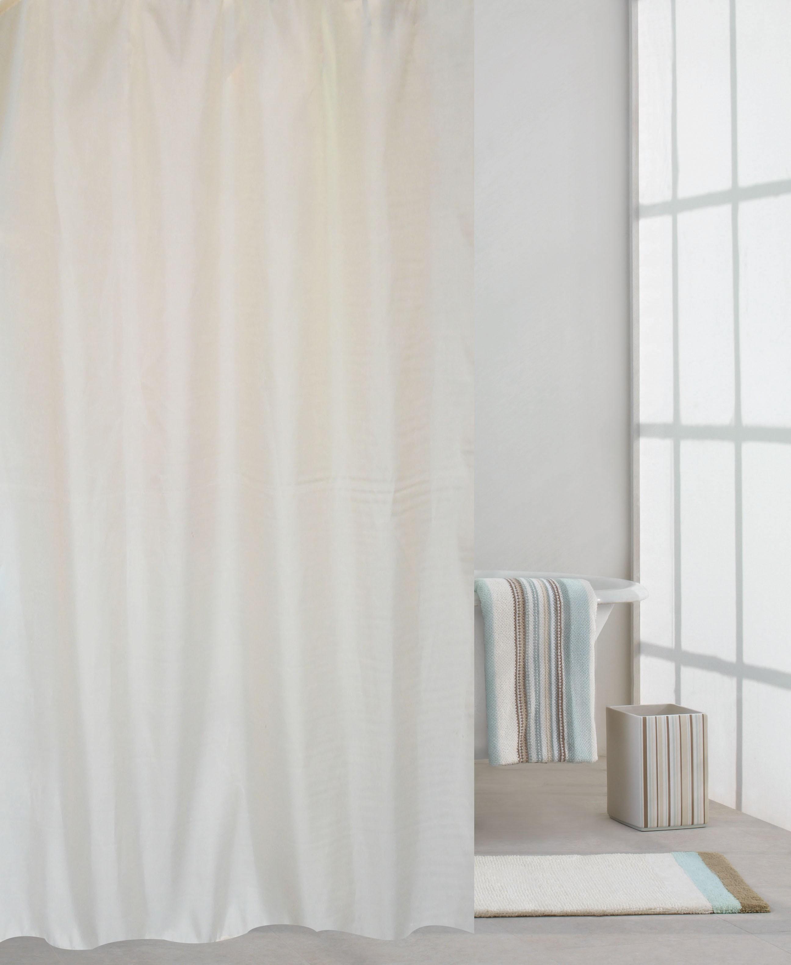 κουρτίνα μπάνιου υφασμάτινη μονόχρωμη λευκή 180x180cm