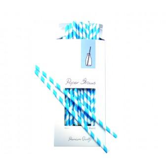 καλαμάκια χάρτινα aps ριγέ μπλε 100 τεμάχια