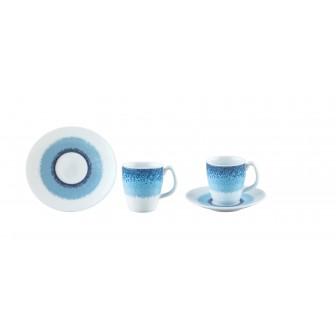 Φλυτζάνι & Πιάτο Καφέ Apeiron Blue Σετ 6τμχ Ionia