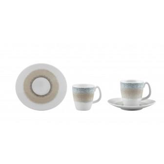 Φλυτζάνι & Πιάτο Καφέ Apeiron Beige  Σετ 6τμχ Ionia
