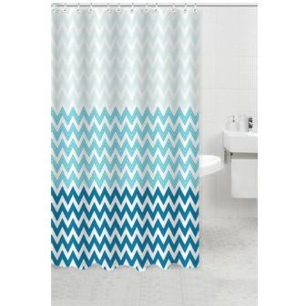 Κουρτίνα Μπάνιου Υφασμάτινη 180x180cm Waves Μπλε